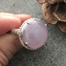 Grade A Icy Lavender Pink Jade Jadeite Round Cabochon Ring 18K White Gold
