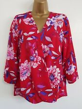 NEW M&Co 8-18 Fuchsia Pink Red White Floral Printed Wrap Top Blouse Smart