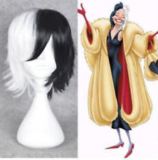 Cruella Devil Dalmatians Cosplay Wig Short Half Black White Hair Full Wigs