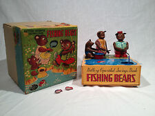 "1950's ""W TOY"" JAPAN FISHING BEARS BATTERY OP MECHANICAL BANK WITH ORIGINAL BOX"