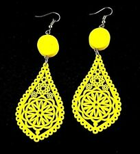 Yellow Tear Drop Shape Lightweight Wood Laser Cut Fashion Dangle Earrings # B183