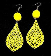 Yellow Tear Drop Shape Lightweight Wood Laser Cut Fashion Dangle Earrings # B183