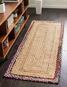 Runner Rug 100% Natural Jute Cotton Braided style Carpet Living Modern Area Rug