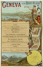 AFFICHE ANCIENNE GENEVA  & THE MONT-BLANC VALLEE DE CHAMONIX ci 1896