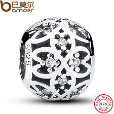 Fine Retro Authentic S925 Sterling Silver Charm Round Bead Fit European Bracelet