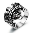 Stainless Steel Men's Biker Eagle ' American ' Band ' Biker ' Ring Size 9-12