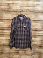 Carhartt Mens Series 1889 LS Snap Front Flannel Button Up Shirt Gray Blue XL