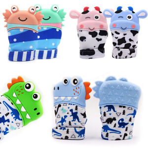 Baby Silicone Mitts Teething Mitten Glove Sound Teether Newborn Chewable Nursing