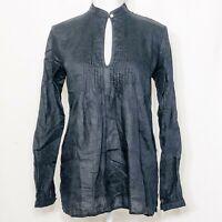 Lauren Ralph Lauren Size Small Blouse 100% Linen Black Pintuck Long Sleeves
