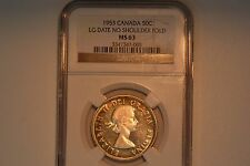 Canada: 1953 Fifty Cents- NGC MS-63.  LG Date- No Shoulder Fold.  Rare.