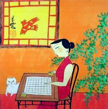 """Oriental Chinese Painting Ink Figures Art-Beauty Lady Study Chess MN63 13x13"""""""