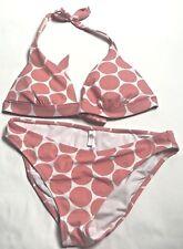 Victoria's Secret 2 Piece Bikini Swimsuit  Womens M Bottom L Top Coral Polka Dot