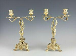 Beautiful 19C Sterling Silver Pair Figural Cherubs Candelabra