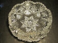 Beautiful Old With Stars & Fans Decorations Heavy Cut Glass Bowl