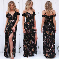 Women's Maxi Boho Floral Summer Beach Long Cocktail Evening Party Dress Dresses Black S