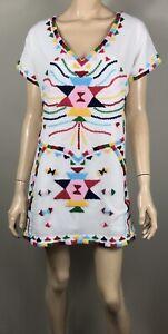 Boom Shankar White Embroidered Dress - Size 14