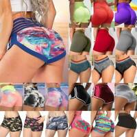 Womens High Waist Yoga Shorts Ruched Push Up Sports Hot Pants Casual Workout GYM