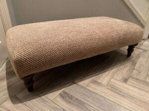 Sofa workshop Ex Large footstool Woven With Dark Wooden Legs Oatmeal RRP £419