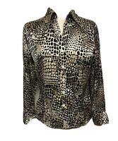 Talbot's Animal Pattern Print Stretch  Silk Career Blouse Sz 8 Petite
