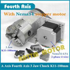 3 jaw chuck K11 100mm CNC 4th axis A axis Dividing head 3:1&Nema34 stepper motor