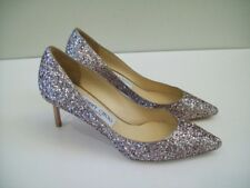 JIMMY CHOO Romy Glitter Pumps Heels Leather Size 6.5, 36.5 NEW FREE SHIPPING