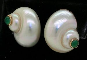 Mazza Brothers 14K gold 1.0CTW cabochon emerald/Nautilus shell clip-on earrings
