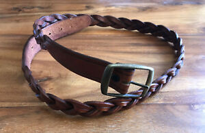 LEATHER Plaited Vintage Style Leather Belt Brass Metal Buckle sz 36 inch / M-L