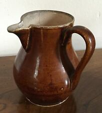 Antique French Brown Porcelain Pitcher Handle to the Side 19th century Jug