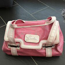 GUESS LADIES PINK WHITE BARREL HANDBAG BAG - NEW WITHOUT TAGS -