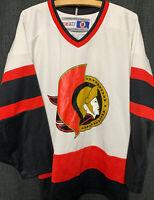 Vintage CCM NHL Ottawa Senators White Hockey Jersey Men's Size M White Red Logo