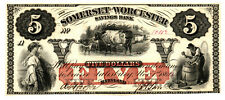 1862 SOMERSET AND WORCESTER SAVINGS BANK (MARYLAND) $5 NOTE