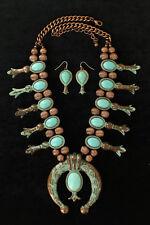 "Squash Blossum NECKLACE ~ Faux Turquoise & Copper ~ Earrings - 24""-27""  29041"