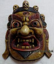 M496 Protector de mano artesanal MAHAKALA Bhairav regalo Máscara de madera colgante de pared Nepal