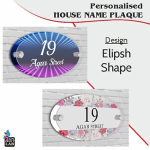 House Sign / Plaque Ellipse / Oval Shape Door Number Street Name Acrylic Glass