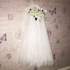 £392 LESY Baby Girl White Pleated Luxury Flower Party Wedding Tulle Dress 2 3