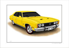 FORD  XC  GS  FALCON  SEDAN  LIMITED EDITION CAR DRAWING  PRINT (9 CAR COLOURS)