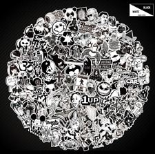 100 Black N White Skateboard Sticker bomb Laptop Luggage Decals Dope Sticker Lot