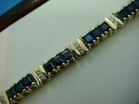 14K Yellow Gold Over 9 Ct Princess Cut Sapphire & Diamond Tennis Bracelet Ladies