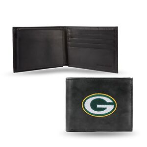 Green Bay Packers NFL Embroidered Leather Billfold Bi-fold Wallet ~ New