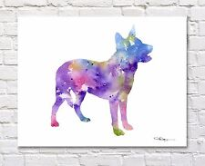 Australian Cattle Dog Contemporary Watercolor Art 11 x 14 Print by Artist Djr