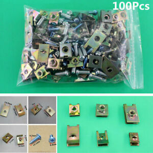 100Pcs Car Body Door Panel Fender Fastener Screw U Type Gasket Metal Fixed Clips