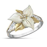 Vivid Flower 925 Silver Two Tone Gold White Topaz Wedding Ring Women's Jewelry