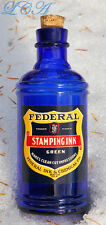 LARGE scarce FEDERAL INK bulk or MASTER Seattle Wash INK bottle COBALT BLUE