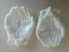 Old Vintage Pair Opaline Glass Hands Soap Holder Shabby Chic Art Nuveau Deco