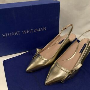 Stuart Weitzman Womens Hayworth Slingbacks Size 8 Gold Metallic NEW $395