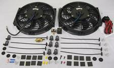 """Dual 10"""" Electric Heavy Duty Radiator Cooling Fans + Thermostat & Mount Kit"""