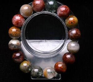 14mm Natural Colorful Phantom Ghost Garden Quartz Crystal Beads Bracelet AAAA