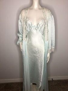Vintage Miss DIOR Lace Lingerie Nightgown Robe Set Ivory floral Long Sz Medium