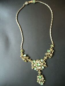 """Vintage Hollycraft Corp 1950 Green & Clear Crystal 26"""" Necklace"""
