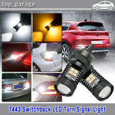 2Pcs 7443 3030 16-LED White Amber Dual Color Switchback Turn Signal Light Bulbs